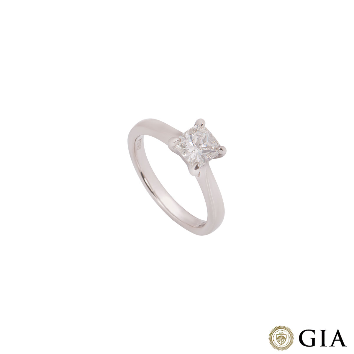 Platinum Cushion Cut Diamond Ring 0.91ct I/VS2